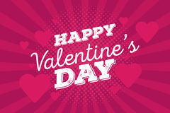 Happy Valentine`s Day Vintage Hand Drawing Background With Hearts Stock Image