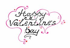Happy Valentine's Day vintage lettering Greeting Card. On white background Stock Images