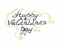 Happy Valentine's Day vintage lettering and heart Greeting Card.  Stock Photos