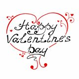 Happy Valentine's Day vintage lettering and heart Greeting Card. Vector Royalty Free Stock Image