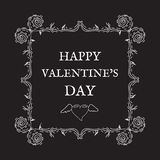 Happy Valentine`s Day. Vintage, retro style. Postcard for invita. Tions. Ornaments and frame. Vector design elements and lettering, white patterns on black Stock Photography
