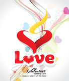 Happy valentine's day wave background with heart. Vector illustration Royalty Free Stock Photo