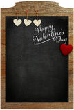 Happy Valentine's Day White Love hearts hanging on wooden textur Stock Images