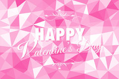 Happy Valentine's Day on white pink background of low poly Royalty Free Stock Images