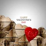 Happy valentine's day. Wood hearts  and red  heart with writing Stock Photo