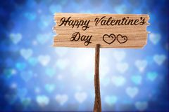 Happy valentine`s day. On wood sign , heart shape background Royalty Free Stock Images