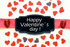 Happy Valentine`s day word on card royalty free stock image