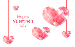 Happy Valentine's Day word with hanging pink polygon heart on wh Royalty Free Stock Photos
