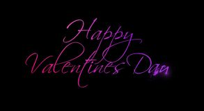 Happy valentine`s day writing effect animation. Calligraphy motion graphics. Handwritten lettering. Isolated on dark background. stock footage