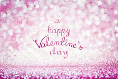 HAPPY VALENTINE`S DAY writing on pink background. HAPPY VALENTINE`S DAY handwriting on pink sparkly background. Celebrating love, holiday wishes royalty free stock images
