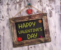 Happy valentine`s day written on Vintage sign board royalty free stock photos
