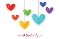 Happy Valentine`s Gay Day Greetings card. Origami Flying Love Rainbow spectrum Hearts in paper cut style. Romantic Royalty Free Stock Image