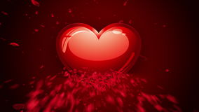 Happy Valentine`s Heart animation, made of rose petals.  stock video