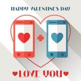 Happy Valentine's illustration in flat style Stock Photo