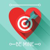 Happy Valentine's illustration in flat style Royalty Free Stock Images