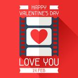 Happy Valentine's illustration in flat style. Happy Valentine's conceptual illustration in flat style Stock Image