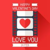 Happy Valentine's illustration in flat style Stock Image