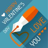 Happy Valentine's illustration in flat style Royalty Free Stock Photos