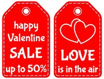 Happy valentine sale up to 50 love is in the air tag set. Happy valentine sale up to 50 love is in the air red tag set isolated on white background. Vector Stock Images