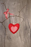 Happy Valentine! Stuffed cotton heart and checked bow hanging on Stock Images