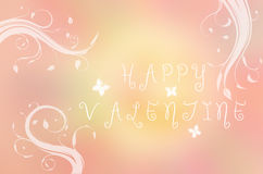 Happy Valentine text written on pink background with butterfly and branches Royalty Free Stock Photos