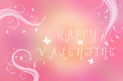 Happy Valentine text written on pink background with butterfly and branches Royalty Free Stock Image