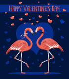 Happy Valentine's Day Greeting Card with Two Romantic Flamingos in Love. Stock Photo