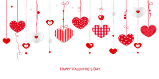 Happy Valentine&x27;s Day Greeting Card With Border Design Hanging Hearts Vector Background Royalty Free Stock Image