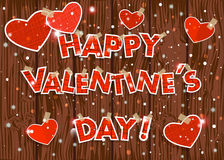 Free Happy Valentine&x27;s Day! Hearts On A Wooden Vector Background . Stock Images - 48505934