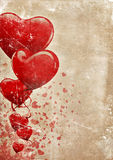Happy Valentines!. Heart-shaped baloons and confettis on a grunge old paper background with lots of copyspace for your text Stock Image