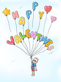 Happy valentines balloons. Man in love with balloons flying in the sky Stock Photos