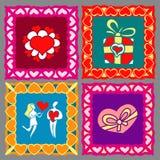 Happy valentines border set Royalty Free Stock Photos