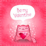 Happy Valentines card. Cute cat with heart. Stock Photos