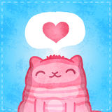 Happy Valentines card. Cute cat with heart. Royalty Free Stock Photography