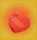 Happy Valentines Card with Heart Shaped Box Red & Golden Background Royalty Free Stock Image