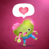 Happy Valentines card with zombie heart. Stock Photos