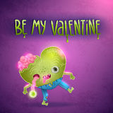 Happy Valentines card with zombie heart. Royalty Free Stock Photography