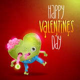 Happy Valentines card with zombie heart. Royalty Free Stock Photos