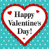 Happy Valentines Day. An illustration of a classic craft looking Happy Valentine's Day heart with polkadot background Stock Photography