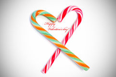 Happy valentines day. With two candy canes forming a heart Stock Photography