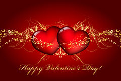 Happy Valentines Day. Card with hearts Stock Images