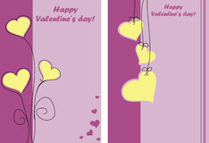 Happy valentines day. Two lilac cards for Valentines Day Stock Photography