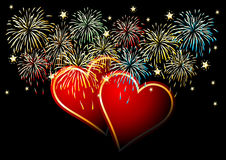 Happy Valentines Day. Celebrating Valentines. Fire works over black background Royalty Free Stock Photo