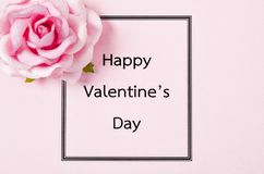 Happy valentines day against card. Happy valentines day against card with rose Stock Images