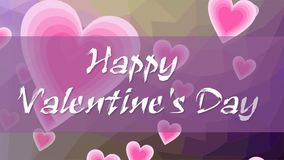 Happy Valentines day, animated inscription in grunge design. Letters written with chalk on purple background with flying. Pink hearts. FullHD video 1920x1080 stock video