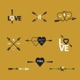 Happy valentines day  arrow. Stock Photos