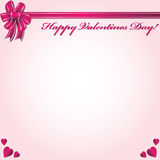 Happy Valentines Day. Background with bow and hearts Stock Photography