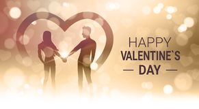 Happy Valentines Day Background With Couple Hold Hands Over Bokeh Golden Blur Shiny Light. Vector Illustration Stock Images