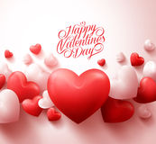 Happy Valentines Day Background with 3D Realistic Red Hearts Stock Photos