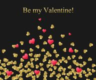 Happy Valentines Day Background. Gold And Red Heart With Golden Text. Template For Creating Greeting Card, Wedding Stock Photos